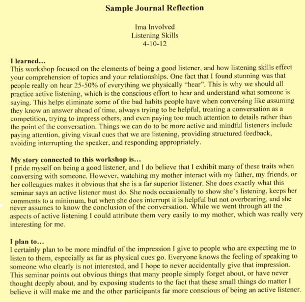 Journal writing example